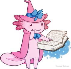 """Axolotl - Secret Wizard!!!!"" Stickers by Andrea Sutinen   Redbubble"