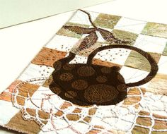 BROWN TEAPOT, Textile Art, Embroidery Quilting, Wall Art. $100.00, via Etsy.