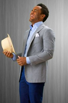 Men's business casual - this outfit is so great, the model is even cracking up! #fashion #summer  Simple blue and grey