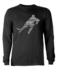 Another great find on #zulily! Black Hockey Languages Typography Long-Sleeve Tee - Men #zulilyfinds