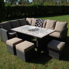 Savannah Modular Dining Set Large Garden Table Outdoor Sofa And Footstools Outside
