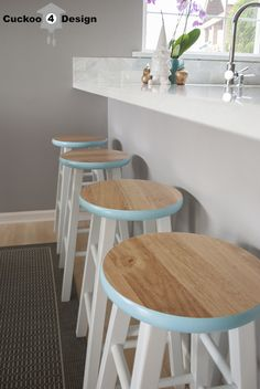 Counter Stool Makeover~love the pop of color on the rim of these, and inexpensive too! Bar stools from Target + paint=unique & lovely!
