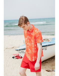Kol #Shirt #red #coral #print #lobsters #handmade #linen #SS15 #Medwinds #mediterranean #style #men