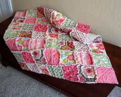 The Garden In Bloom Baby Rag Quilt Blanket with Ginger Blossom fabric - part of my NEW Traditional Collection. $59.95, via Etsy.