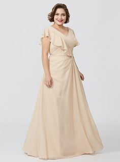 A-Line V-neck Floor Length Chiffon Mother of the Bride Dress with Appliques Pleats by LAN TING BRIDE® - USD $110.49 ! HOT Product! A hot product at an incredible low price is now on sale! Come check it out along with other items like this. Get great discounts, earn Rewards and much more each time you shop with us!