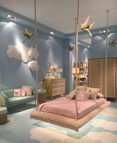 Cute Bedroom Design Ideas For Kids And Playful Spirits teenager zimmer mädchen schmetterlinge wand deko Cute Bedroom Ideas, Girl Bedroom Designs, Awesome Bedrooms, Cool Rooms, Bedroom Themes, Bed Designs, Kids Bedroom Ideas For Girls, Design Bedroom, Nursery Ideas