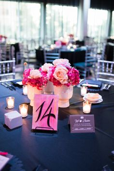 Modern pink and white centerpiece