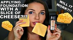 APPLYING FOUNDATION WITH A SLICE OF CHEESE?? | MAKEUP CHALLENGE | CC Sua...