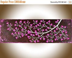 Pink brown white flowers painting wall art wall decor Canvas