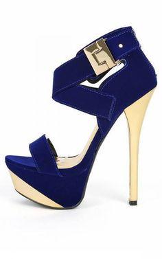 Buckle royal blue velvet heels by Qupid.