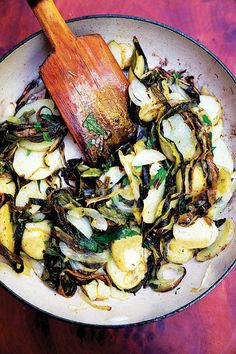 Papas con Rajas: Smoky roasted poblano chiles add deep flavor to starchy potatoes in this side dish typical of Central Mexico.
