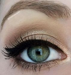 Gold shadow always works great on a green eye, putting a light cream colour on the inner corner will brighten the overall eye
