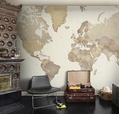 World Map Wall Panel Map of the world in earthy tones. Can be made in varying sizes. Contact Fabrics and Papers for further information.