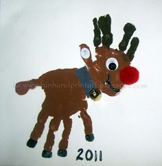 Handprint and Footprint Arts & Crafts: Double Handprint Rudolf the Red-Nosed Reindeer Carft
