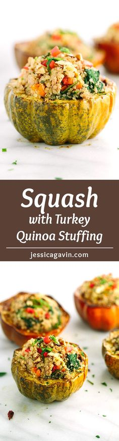 Roasted acorn squash with turkey quinoa stuffing - This delicious recipe is a meal all in one edible bowl! Each serving is filled with healthy lean protein, vegetables and fruit | jessicagavin.com