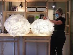 """Lidzia&Renia on Instagram: """"Cześć! Wczoraj odbyły się pierwsze warsztaty z DIY lamp chmurek ☁️ w nowo otwartym IKEA Dom Jutra 🏡 w Szczecinie. Miałyśmy przyjemność…"""" Dom, Home Lighting, Ikea, Shades, Instagram, Home Decor, Diy Lampshade, Decoration Home, Ikea Co"""