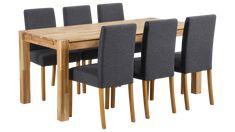 CAPRI-ruokailuryhmä, 6:lla CAPRI-tuolilla (tammi) - Ruokailuryhmät   Sotka Norman, Dining Chairs, Capri, Table, Furniture, Home Decor, Decoration Home, Room Decor, Dining Chair