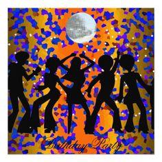 """Dance Disco Birthday Party Invitation 5.25"""" Square Invitation Card"""