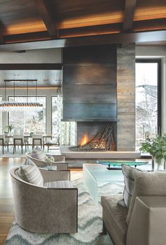 This Vail Home is Both Glam & Masculine - Mountain Living Modern Mountain Home, Mountain Living, Mountain Homes, Modern Lodge, Colorado Homes, Vail Colorado, Design Trends, Design Ideas, Modern Design