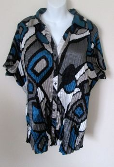 26fc5f9591a12 Lane Bryant Size 22 24 Blouse Short Sleeve Button Front Pleated Satin Blue  Print  LaneBryant