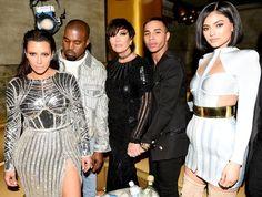 Kim Kardashian, Kanye West, Kris Jenner, Olivier Rousteing, and Kylie Jenner