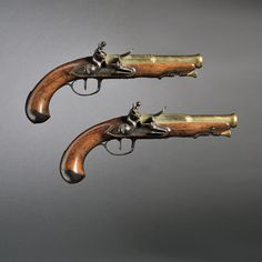 Pair of French Brass Barrel Flintlock Pistols, c. late 18th century