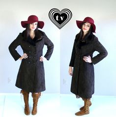 vtg 70s cocoa brown SUEDE hippie SHEARLING COAT by TigerlilyFrocks, $155.00