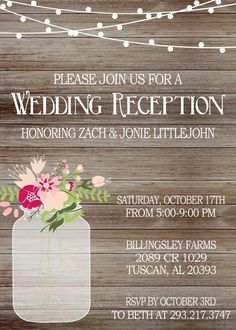 rustic wedding reception invitation with lights mason jar invite reception only invitation printed invitations or digital file - Wedding Reception Only Invitations
