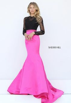 1c3c34bafe3 Sherri Hill 50916 is an elegant satin mermaid gown with long sleeve lace  bodice