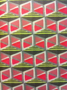 """Rachael Moore """"Grey, yellow and two tones of pink have been combined to produce a pattern of three-dimensional boxes in this hand-screenprinted textile."""" From 'Pattern' by Drusilla Cole"""