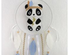 Mobile bébé, Attrape-rêves Panda feutrine, Décoration chambre  bébé ou enfant, Cadeau naissance, baptême, anniversaire, baby shower, noël