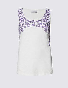 Pure Cotton Embroidered Vest Top