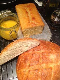 Lemon yogurt cake, homemade Amish bread and homemade lemon curd. Amish Bread, No Yeast Bread, Bread Baking, Lemon Yogurt Cake, Lemon Curd, Lazy Days, Bliss, Breads, Deserts