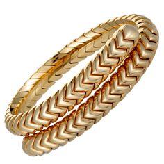 Bvlgari BULGARI Yellow Gold Spiga Braided Bangle Bracelet for sale online Gold Bangle Bracelet, Gold Bangles, Bulgari Jewelry, Bvlgari, Jewels, Diamond, Yellow, Projects, Silver