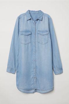 Длинная рубашка - Светло-голубой деним - Женщины | H&M RU 4