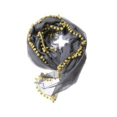 Pom Pom Scarf- Charcoal/Citron  by THOMAS PAUL at DESIGN PUBLIC $110.00.