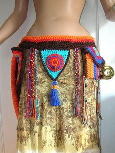 Tribal  Cotton Crochet  Hip Belt with Pouches  by Guerillagranny, $95.00