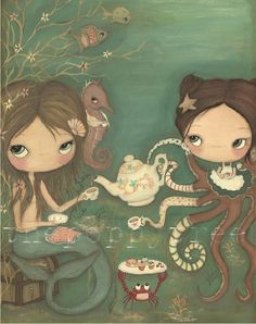 Mermaid+Print+Octopus+Art+Apron+Cakes+SeahorseTea+by+thepoppytree,+$35.00