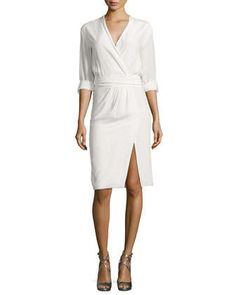 Tristan Poplin Faux-Wrap Dress by Alice + Olivia at Neiman Marcus.