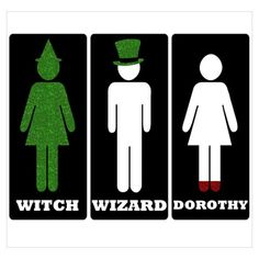 bathroom signs Wizard of Oz Gender Neutral Bathroom Signs, Wizard Of Oz Musical, Harry Potter Bathroom, Cowardly Lion, Land Of Oz, Yellow Brick Road, Wicked Witch, Over The Rainbow, The Wiz