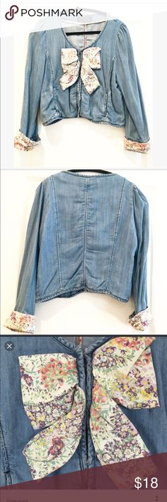 Zara denim jacket with floral bow Super cute soft denim jacket with a floral bow and flora cuffs.  The denim is super soft!  Excellent condition.  Size small. Zara Jackets & Coats Jean Jackets