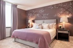 Gorgeous Purple bedroom ideas , Gorgeous Purple Bedroom Ideas Tips The bedroom includes a gorgeous mixture of purples. It comes with a gorgeous mix of purples. This small, dreamy bed. Bedroom Wall Colors, Room Ideas Bedroom, Home Decor Bedroom, Living Room Decor, Purple Bedrooms, Mauve Bedroom, Purple Bedroom Design, Bedroom Black, Townhouse Interior
