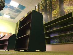 New library bookcases and shelving in enchanted forest themed school library.  Southmead Primary School - Wimbledon, London. www.rapinteriors.co.uk