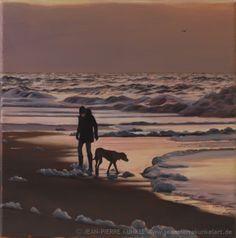 fine art - Jean-Pierre Kunkel - 30 x 30 cm - oil on canvas, woman and her dog on beach, Strand, north sea, sunset, Sonnenuntergang, Meer, maritim, painting, Ölbild