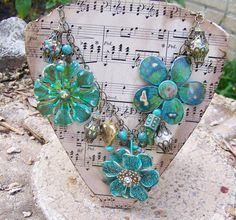 Statement Bib Necklace Patina Flowers in by TheQueensDaughters, $60.00