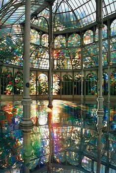 """The Crystal Palace, Madrid, Spain. The Palacio de Cristal (""""Crystal Palace"""") is a glass and metal structure located in Madrid's Buen Retiro Park. The Crystal Palace, Crystal Palace Madrid, Crystal Room, Crystal Castle, Glass Crystal, Places To Travel, Places To See, Vacation Places, Travel Destinations"""