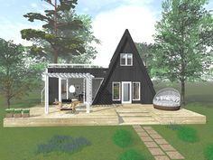 A Frame Cabin, A Frame House, Cabin Homes, Tiny Homes, Small Villa, Earthship, Garage House, House Extensions, Tiny House Design