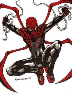 Superior Spider-Man line art. Pencils, inks and colored markers on x vellum board. Marvel Comics, Marvel Dc, Marvel Heroes, Spiderman Art, Amazing Spiderman, Spiderman Symbiote, Comic Books Art, Comic Art, Book Art