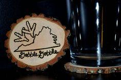 Handcrafted 'Virginia Tech Hokie' Woodburned Coasters by ZSDesign