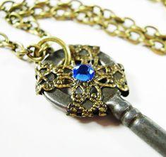 Steampunk Skeleton Key Necklace Filigree Blue by AmongTheRuins, $29.00